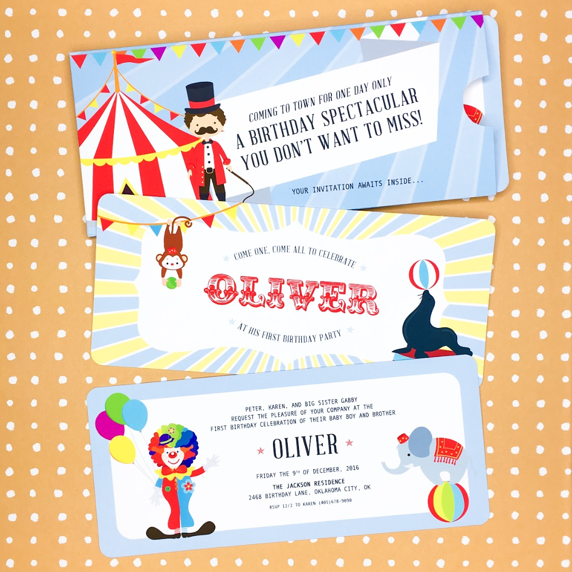 Oliver\'s Circus Party - Invitation - Tia Nguyen